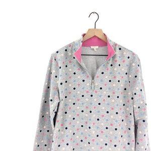 *talbots* lightweight zip polka dot pullover